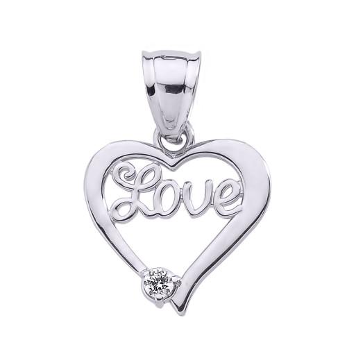 "White Gold ""Love"" Script Diamond Heart Pendant"