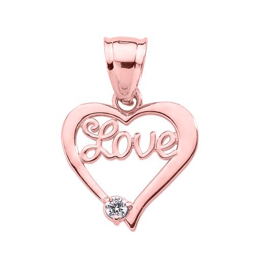 "Rose Gold ""Love"" Script Diamond Heart Pendant"