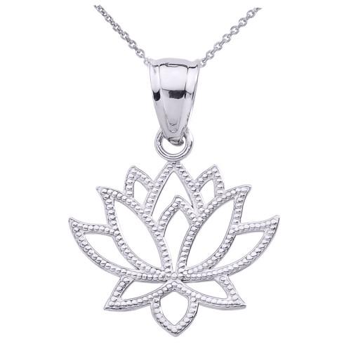 White Gold Lotus Flower Pendant Necklace