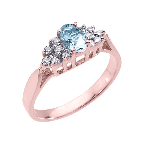 Rose Gold Aquamarine and Diamond Proposal Ladies Ring