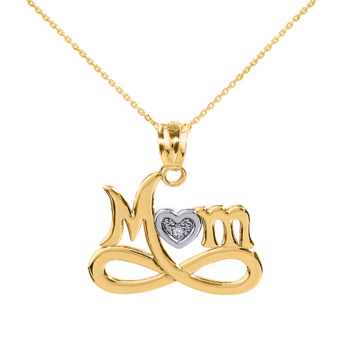 """Yellow Gold Infinity """"MOM"""" Heart with Diamond Pendant Necklace"""