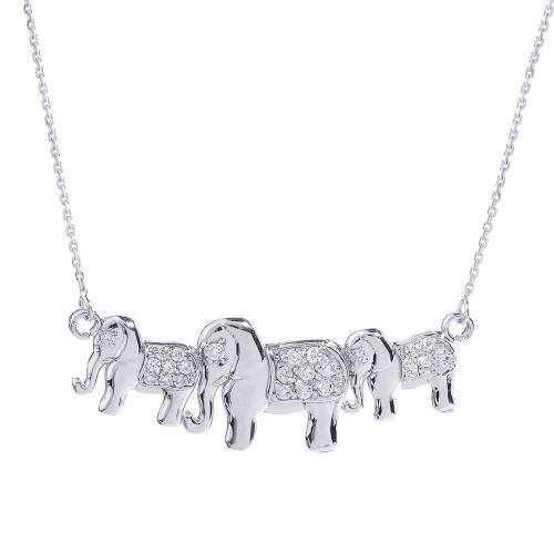 White Gold CZ Studded Three Elephant Pendant Necklace