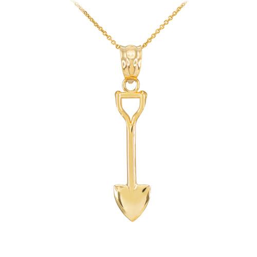 Polished Gold Shovel Pendant Necklace