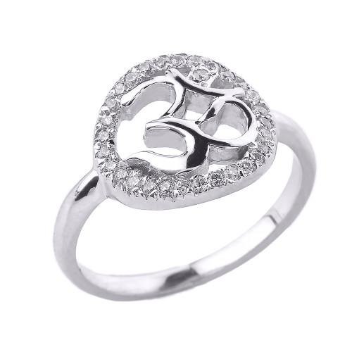 White Gold CZ Studded Om/Ohm Ring