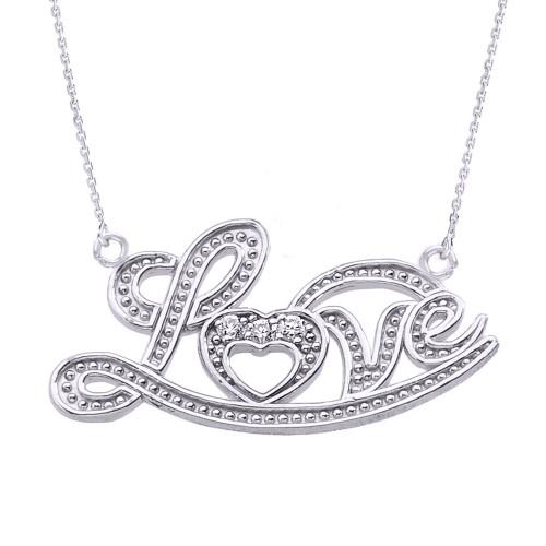 "14k White Gold ""Love"" Script Diamond Pendant Necklace"