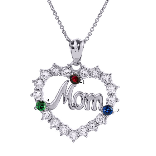 """Sterling Silver """"MOM"""" Open Heart Pendant Necklace with Three CZ Birthstones"""