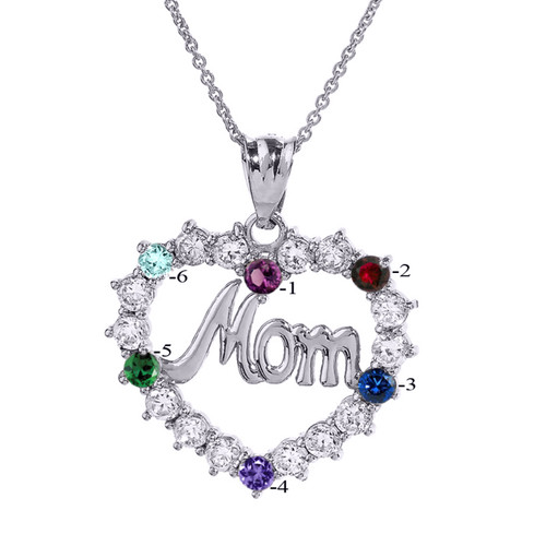 """Sterling Silver """"MOM"""" Open Heart Pendant Necklace with Six CZ Birthstones"""