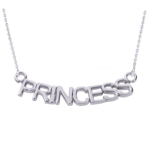 "Sterling Silver  ""PRINCESS"" Pendant Necklace"