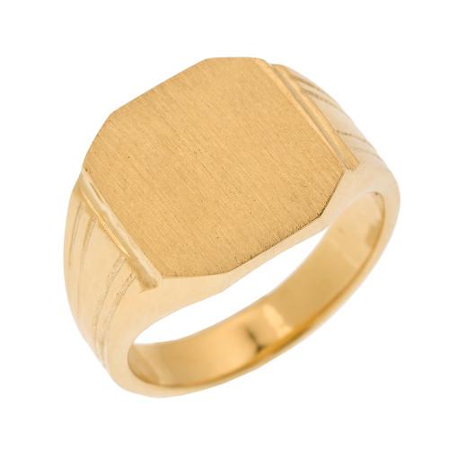 Yellow Gold Octagon Cut Engravable Men's Signet Ring
