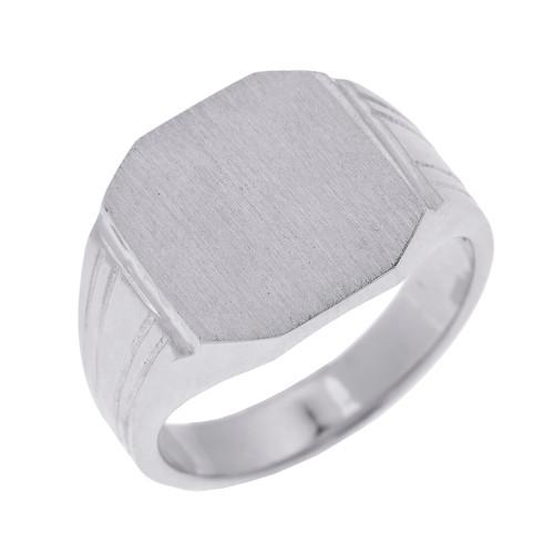 White Gold Octagon Cut Engravable Men's Signet Ring