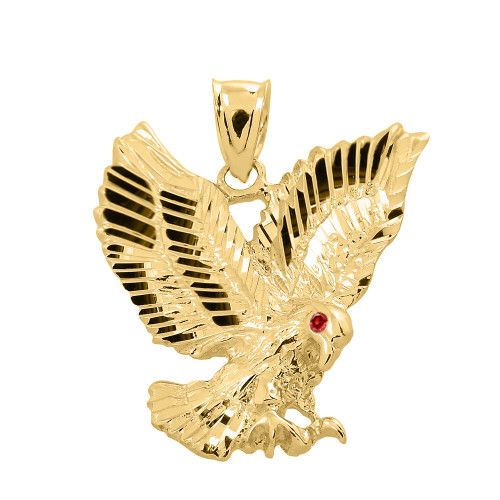 Yellow Gold Diamond Cut Landing Eagle Charm Pendant