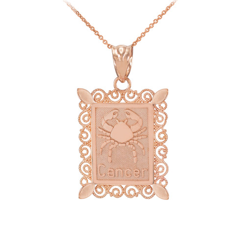 Rose Gold Cancer Zodiac Sign Filigree Pendant Necklace