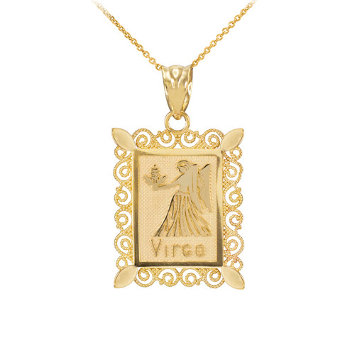 Gold Virgo Zodiac Sign Filigree Square Pendant Necklace