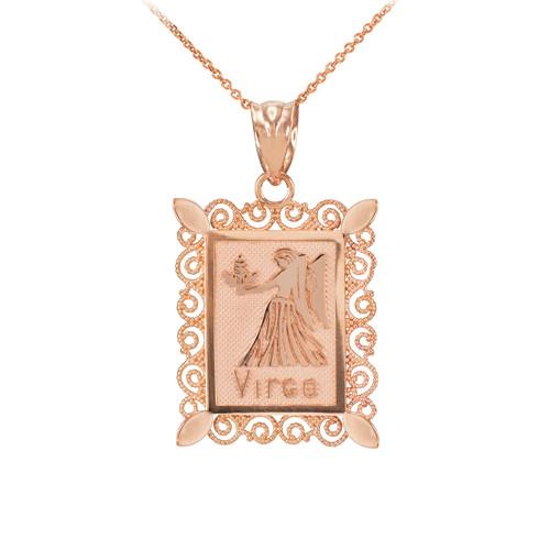 Rose Gold Virgo Zodiac Sign Filigree Square Pendant Necklace