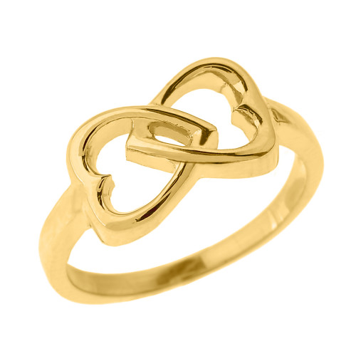 Yellow Gold Infinity Double Heart Ring