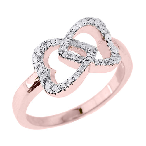 Rose Gold CZ Infinity Double Heart Promise Ring