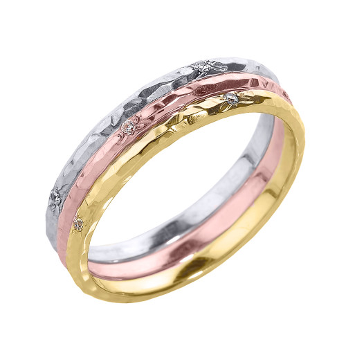 Hammered 2 mm Gold Stackable Diamond Three Piece Ring Set