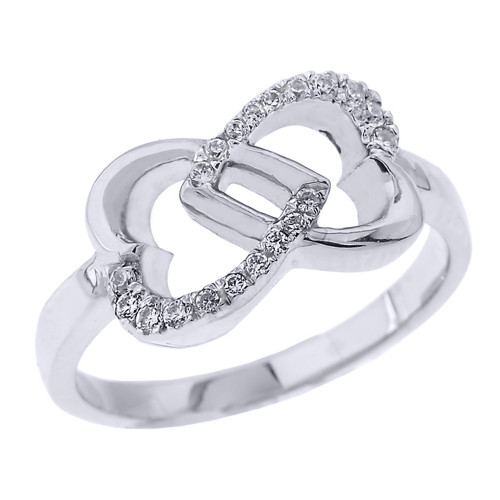 White Gold Infinity Double Heart CZ Promise Ring