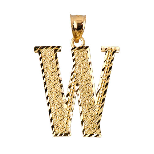 Initial W Gold Charm Pendant