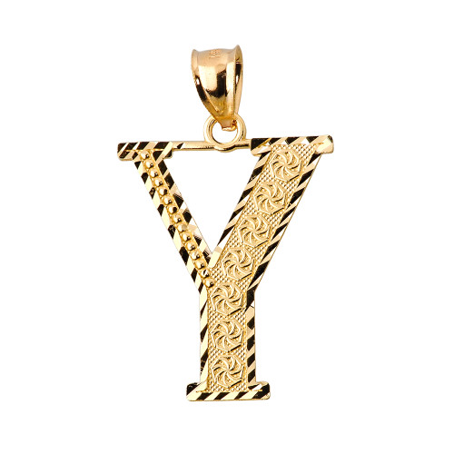 Initial Y Gold Charm Pendant