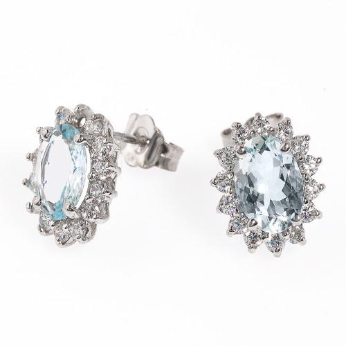 14K White Gold Diamond and Light Blue Aquamarine Stud Earrings