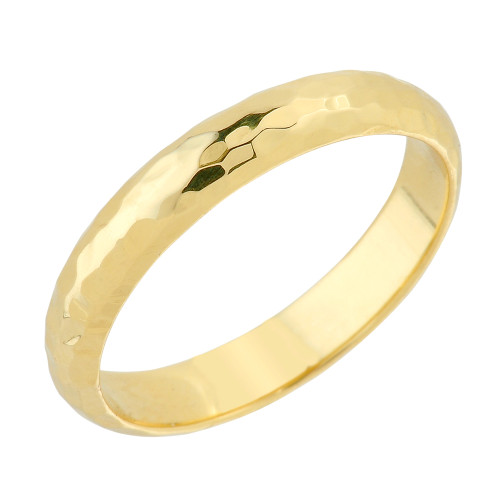 Yellow Gold 4 mm Hammered Wedding Band