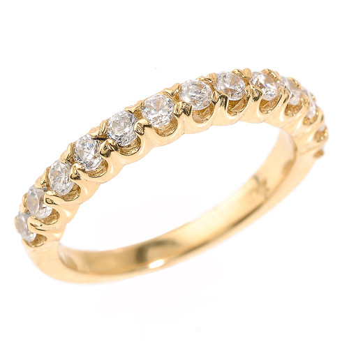 14k Yellow Gold Stackable Diamond Wedding Band