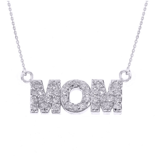 """Sterling Silver """"MOM"""" CZ Pendant Necklace"""
