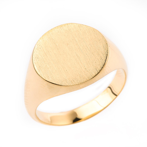 Engravable Men's Signet Ring in Solid Yellow Gold