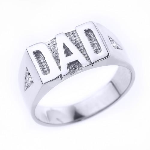 """White Gold Diamond """"DAD"""" Men's Ring"""