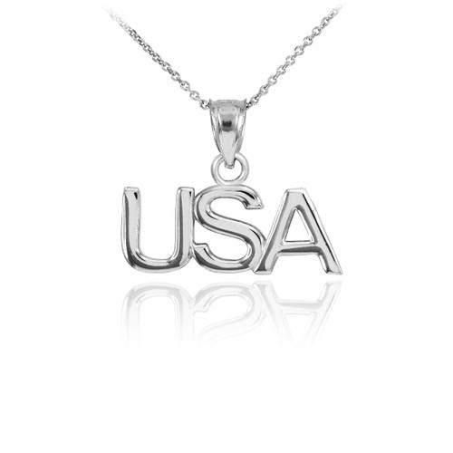 White Gold USA Pendant Necklace