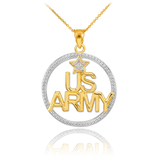 Two-Tone Gold 'US ARMY' Diamond Pendant Necklace