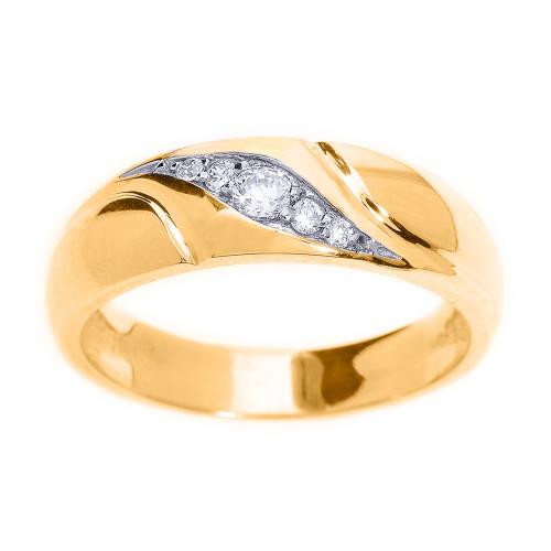 Yellow Gold Men's Diamond Wedding Ring