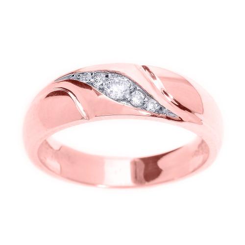Rose Gold Men's Diamond Wedding Ring