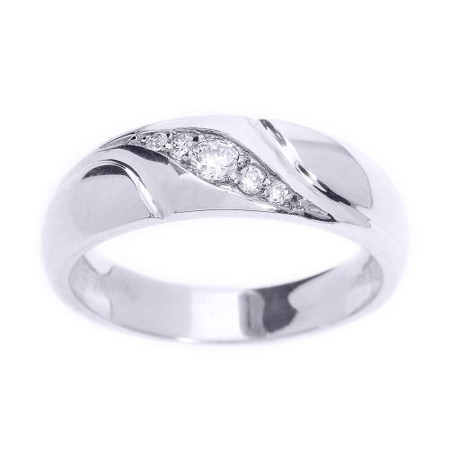Sterling Silver Men's Diamond Wedding Ring