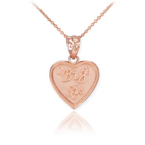 Rose Gold 'BIG SIS' Heart Pendant Necklace