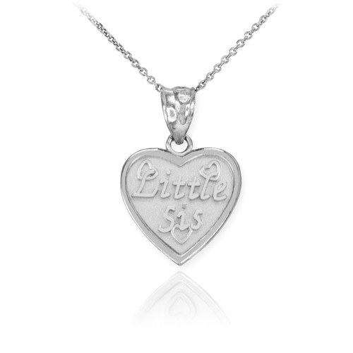 Sterling Silver 'LITTLE SIS' Heart Pendant Necklace