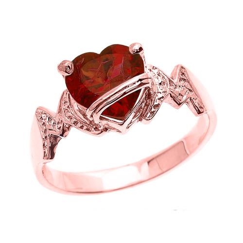 "Rose Gold Heart CZ Birthstone ""MOM"" Ring"