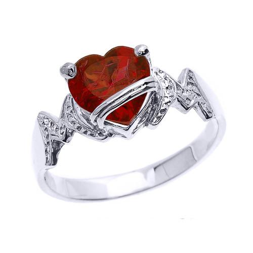 """Sterling Silver Heart CZ Birthstone """"MOM"""" Ring"""
