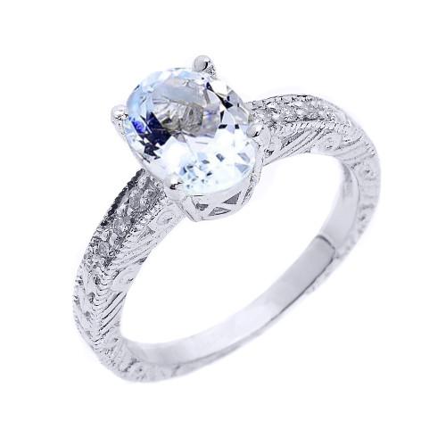 White Gold Art Deco Aquamarine and Diamond Proposal Ring
