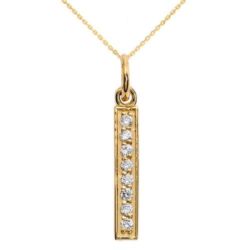 14k Yellow Gold Vertical Bar Diamond Necklace