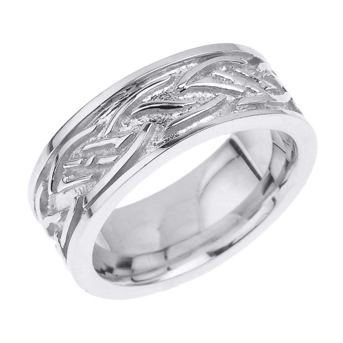 Sterling Silver Comfort Fit Celtic Knot Men's Band