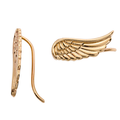14k Yellow Gold Angel Wings Ear Cuffs