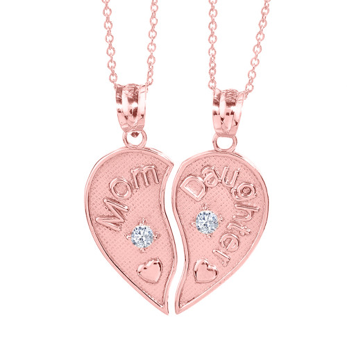 2pc Rose Gold 'Mom' and 'Daughter' CZ Heart Necklace Set