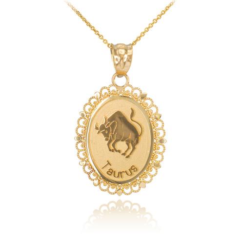 Polished Gold Taurus Zodiac Sign Oval Pendant Necklace