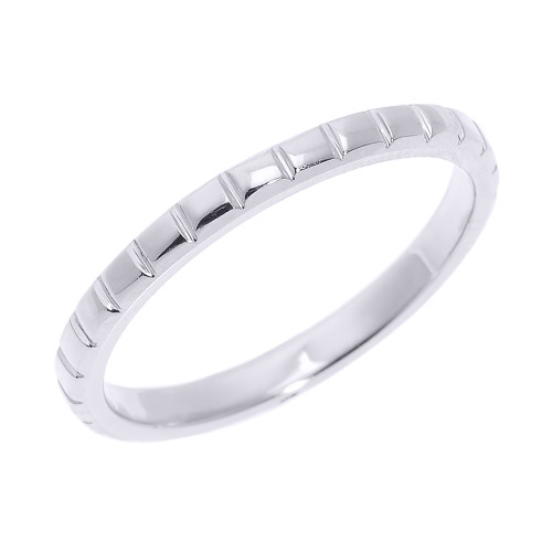 White Gold Textured Thumb Ring