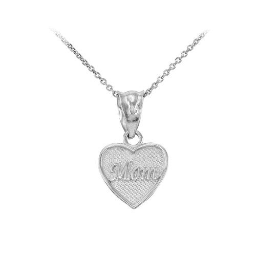 White Gold 'Mom' Heart Charm Necklace