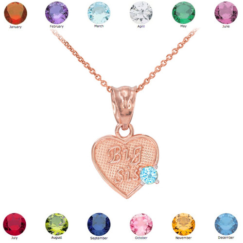 Rose Gold 'Big Sis' CZ Birthstone Heart Charm Necklace