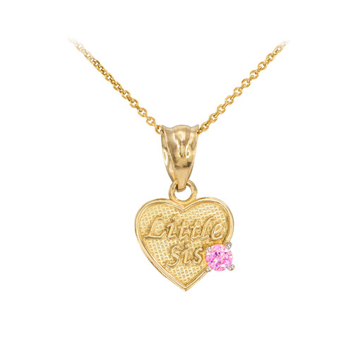 Gold 'Little Sis' Birthstone CZ Heart Charm Necklace