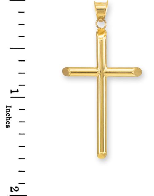 Polished 10k White Gold Plain Crucifix Tube Cross Charm Pendant